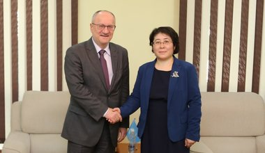 SRSG Petko Draganov and Deputy Foreign Minister of Kyrgyzstan Dinara Kemelova