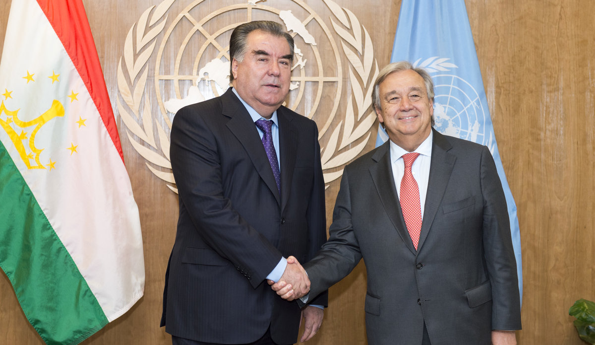 President of the Republic of Tajikistan, Emomali Rahmon, and Secretary-Genera