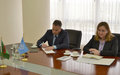 SRSG NATALIA GHERMAN MEETS WITH H.E. RASHID MEREDOV, DEPUTY PRIME MINISTER, MINISTER OF FOREIGN AFFAIRS OF TURKMENISTAN